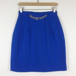 Vintage bright blue mini skirt with gold chain